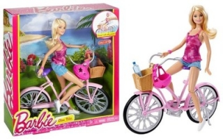 Bábika barbie - BARBIE ON BICYCLE DJR54 s košom prilby Mattel